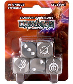 Set of 10 acrylic dice, each with a unique Allomantic symbol on the 6 face.